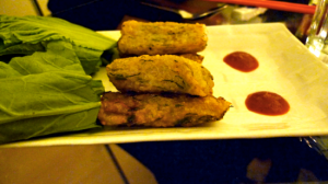 Fish cakes with radish leaves